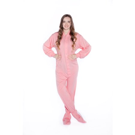 Big Feet PJs Pink Jersey Knit Adult Footie Footed Pajamas with Drop Seat Sleeper