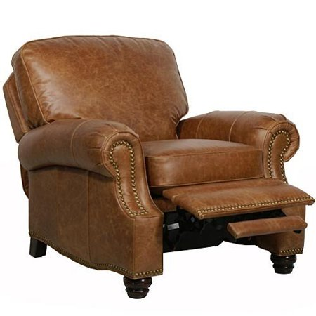 - Barcalounger Longhorn II Leather Recliner Saddle Leather/Espresso Wood Legs