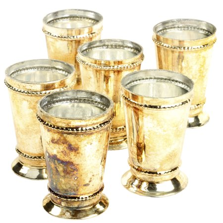 Koyal Wholesale Antique Burnt Gold Glass Mint Julep Cup Vases, Bulk Set of 6, Bud vase, Candle Holders