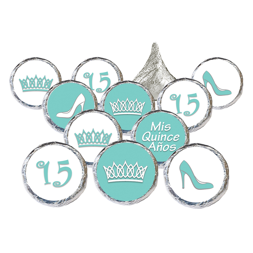Quinceanera Party Favor Stickers, 324ct - Sweet 15 Princess Crowns Quinceanera Party Favors Robin's Egg Blue Decorations - 324 Count Stickers