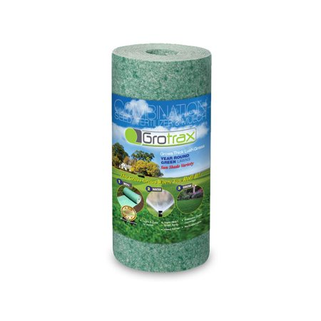 As Seen On TV Grotrax Quick Fix Roll Year-Round Green Grass Seed Mixture Mat Roll for Lawn Spots, High Traffic Areas and Lawn Repairs | Winter Resistance and Drought Tolerant, 50