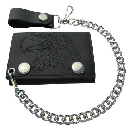 Embossed Eagle Head Leather Trifold Chain Wallet USA (Shooting Head Wallet)