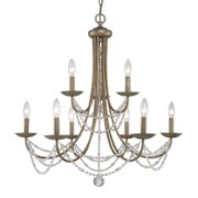 Golden Lighting 7644-9 9 Light Two Tier Up Light Chandelier from the Mirabella C