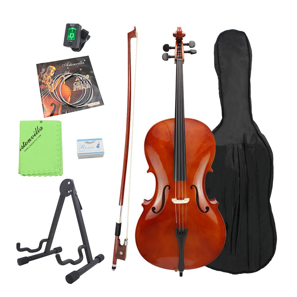 Full Size 4 4 Cello Musical Instrument with Hard & Soft Case, Stand, Extra Set Strings,... by
