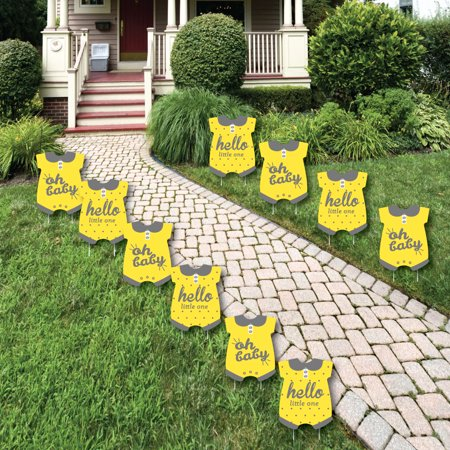 Hello Little One - Yellow and Gray - Baby Bodysuit Lawn Decor - Outdoor Neutral Baby Shower Yard Decorations - 10 Piece