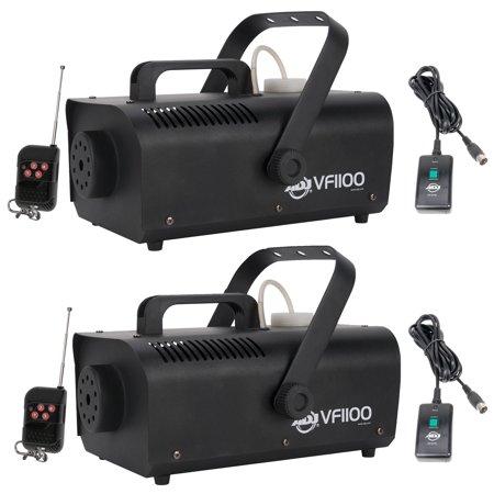 American DJ 1000W 1 Liter Medium Mobile Smoke Fog Machine w/ Remotes (2 Pack) - Halloween Fog Machine 1000w