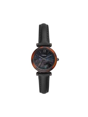 Fossil Women's Carlie Mini Three-Hand Black Leather Watch ES4650