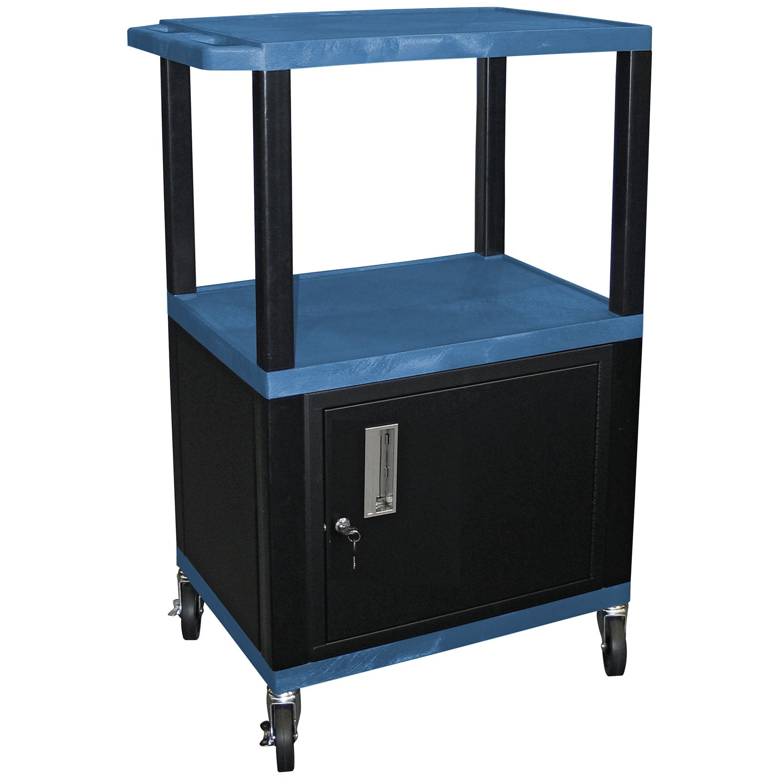 Tuffy 42 in. Utility Cart with Locking Cabinet - Black Legs/Blue Shelves