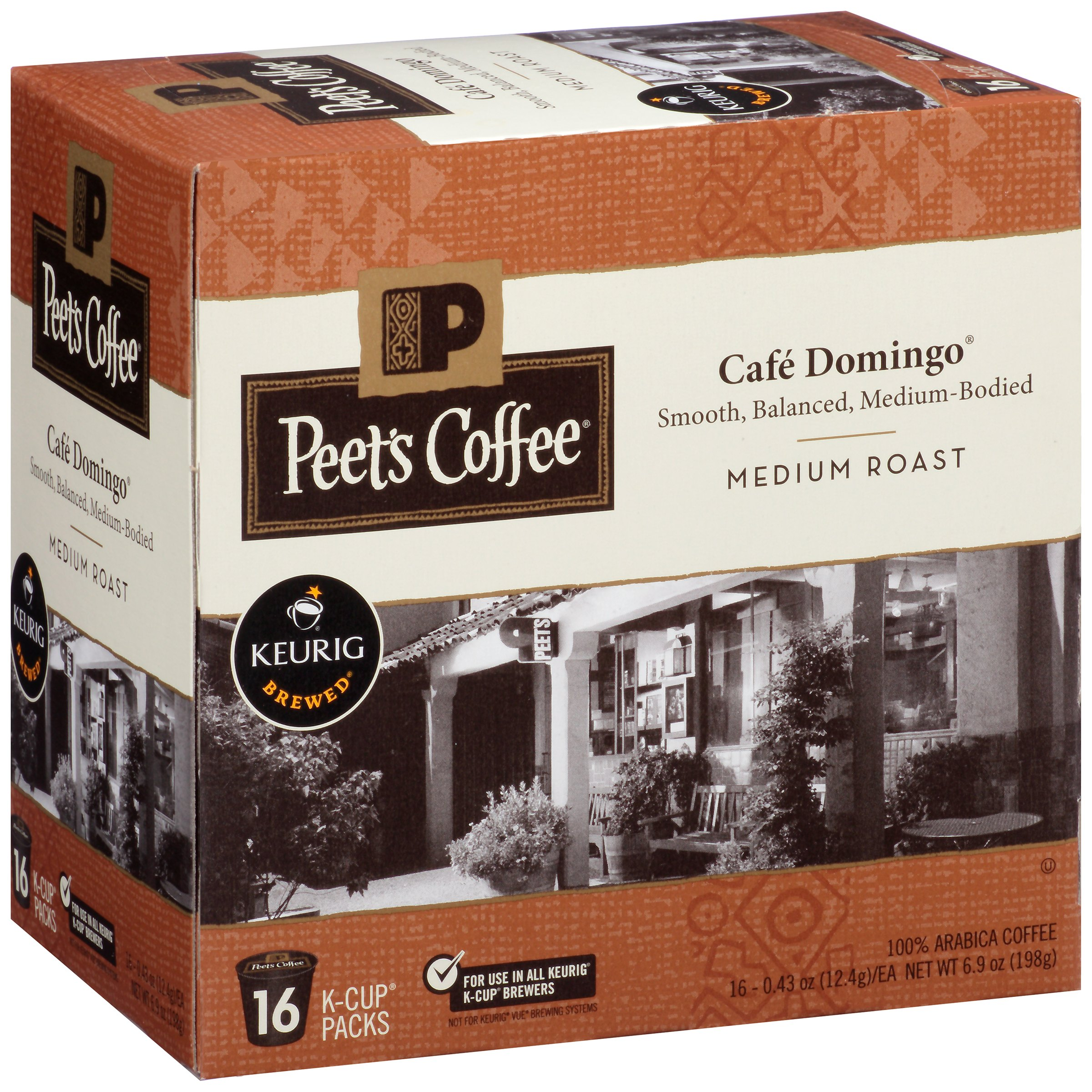 Peet's Coffee Cafe Domingo Medium Roast Coffee Pods, 16 pods