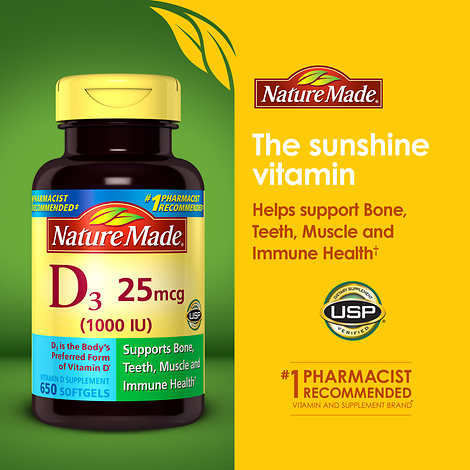 Nature Made Vitamin D3 25 mcg., 650 gélules - image 2 de 2