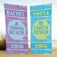 Personalized Splash of Memories Beach Towel