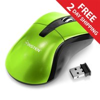 Insten Green 2.4G Cordless 4 Keys Wireless Optical Gaming Mouse with 800 1200 1600 DPI For Computer Laptop Desktop PC Game