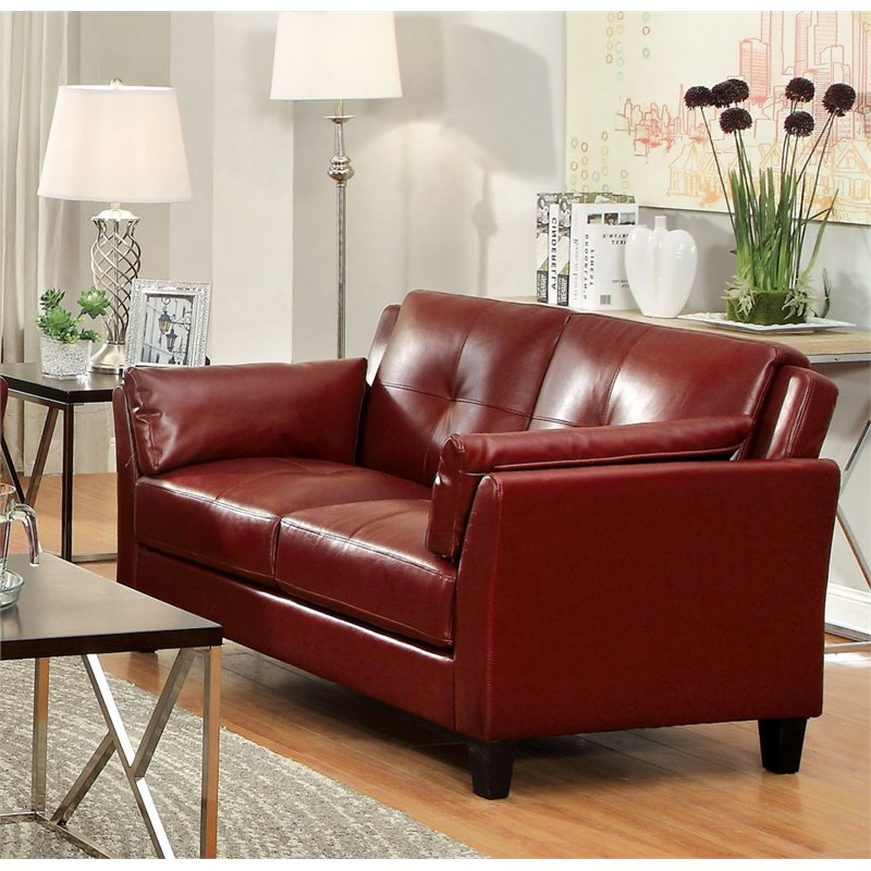 Furniture of America Tonia Leather Tufted Loveseat in Red