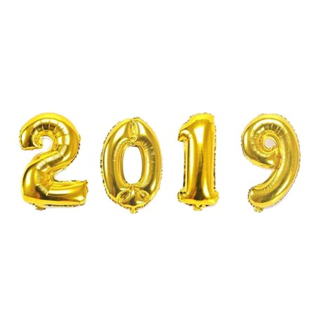 Led New Years 2019 (GeweYeeli Number 2019 Happy New Year Letter Foil Balloons Christmas New Year Celebration Party Decoration)