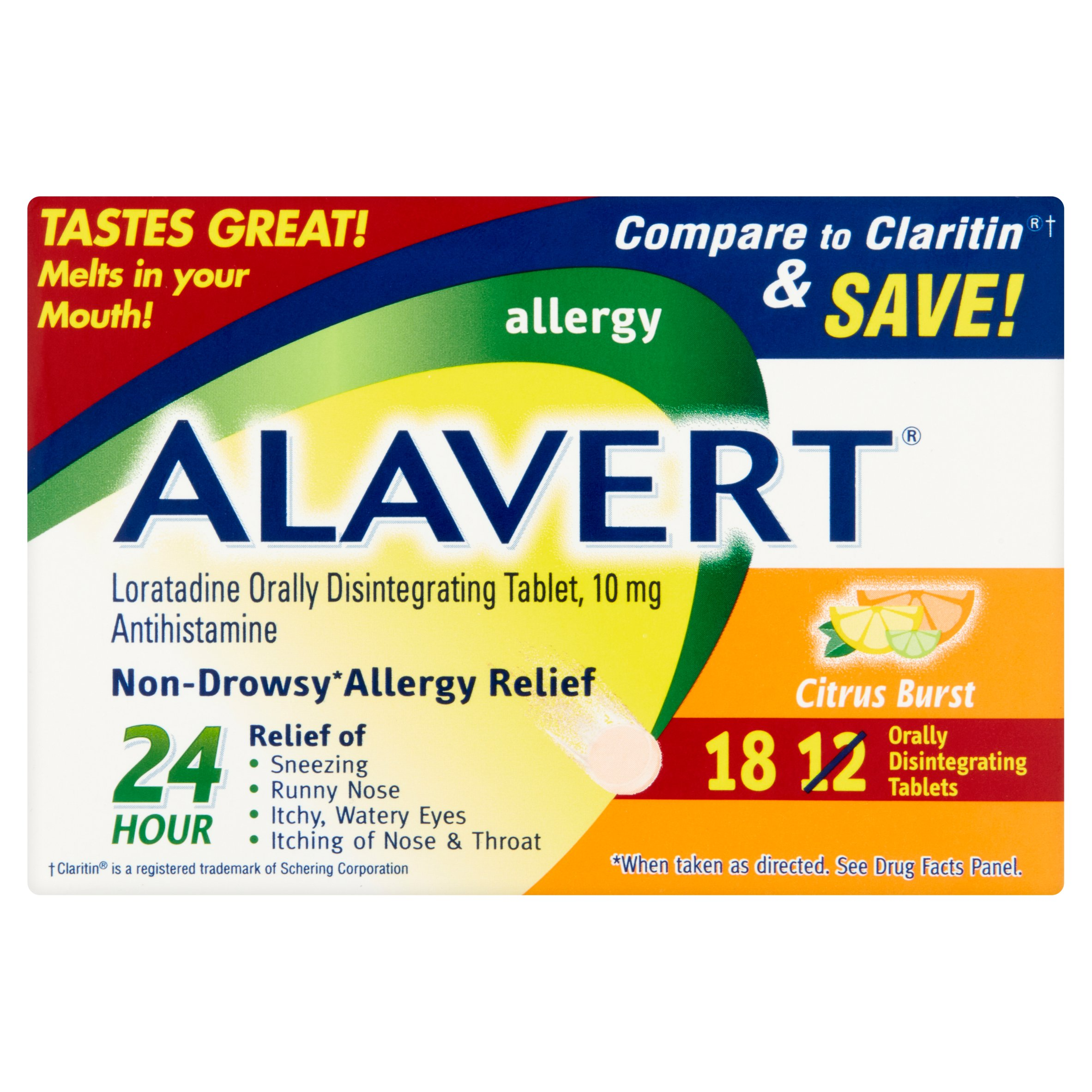 Alavert® Non-Drowsy 24-Hour Allergy Relief Orally Disintegrating Tablets in Citrus Burst Flavor 18 ct Box