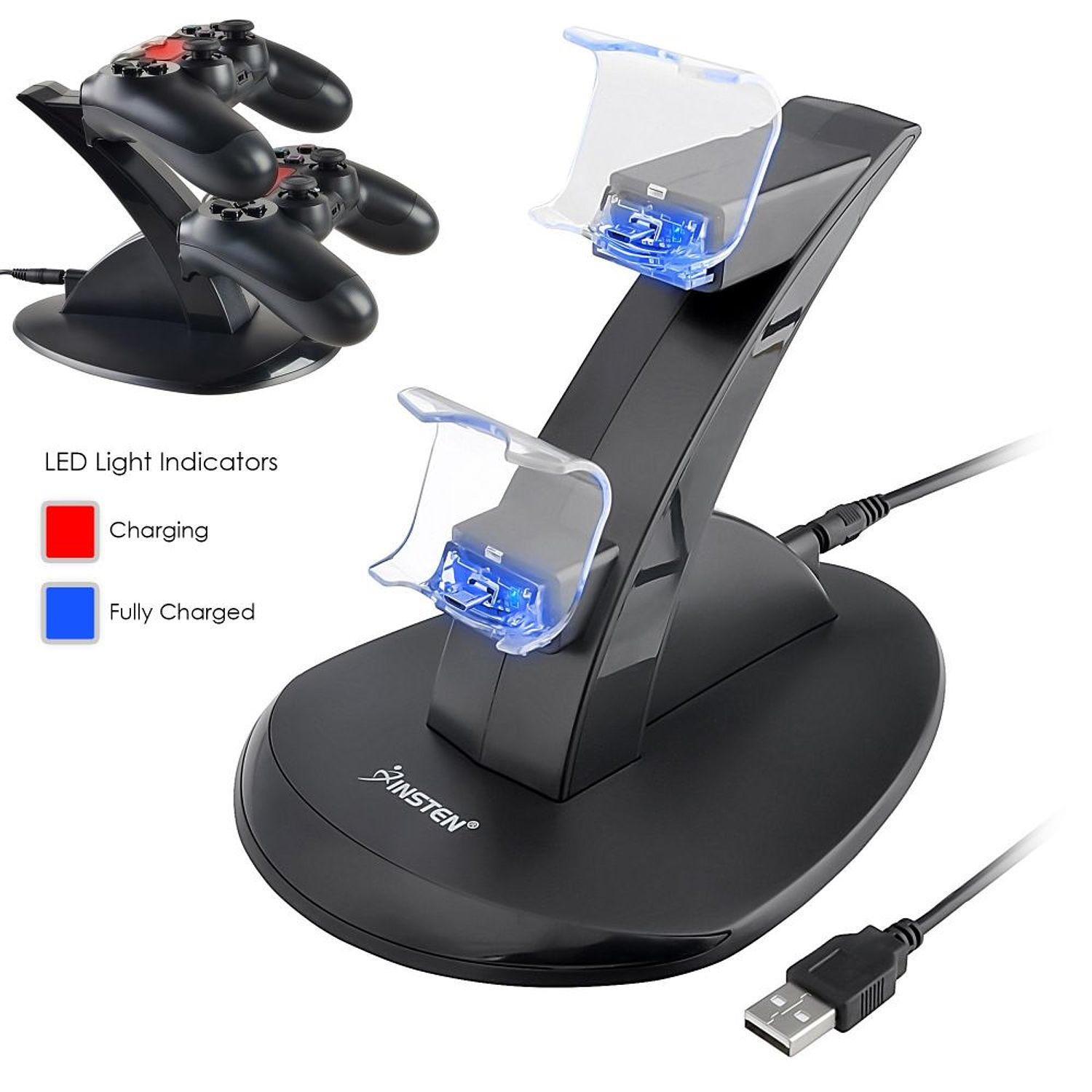Dual PS4 Charger , Charger Station, Charger Dock, by Insten Dual USB Charger Dock Station Stand for Sony Playstation 4 PS4 Controller LED Docking Cradle (with Charging Cable)