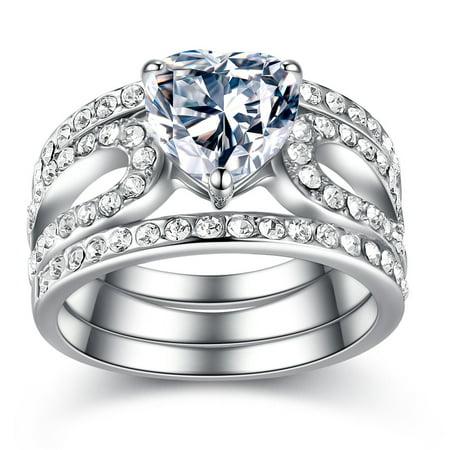 Devuggo 3PCS rings Stainless Steel 316L Women Heart Shape Created Diamond Wedding Band Sizes 5,6,7,8,9,10