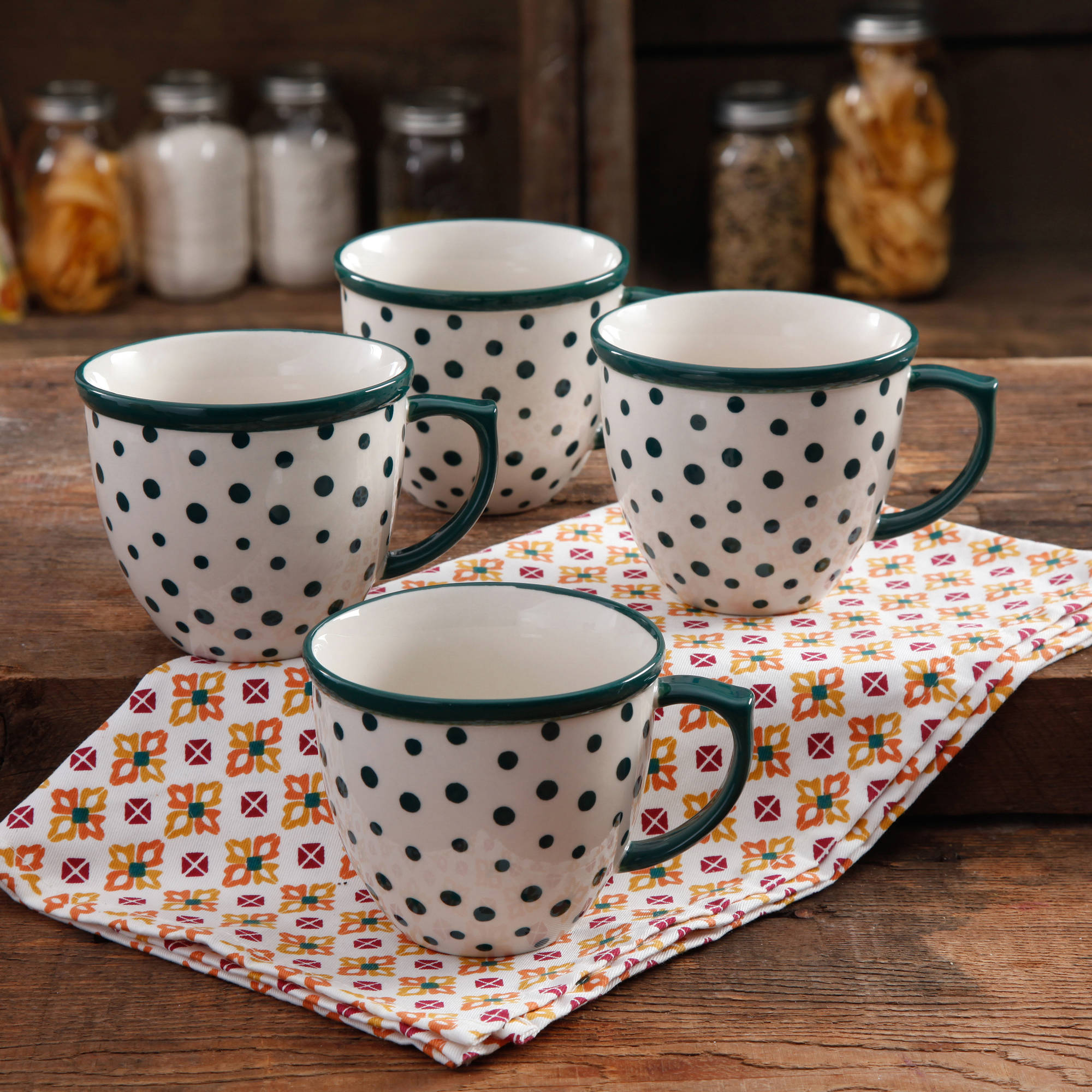 The Pioneer Woman Retro Dots 17-Ounce Mug Set, 4-Pack