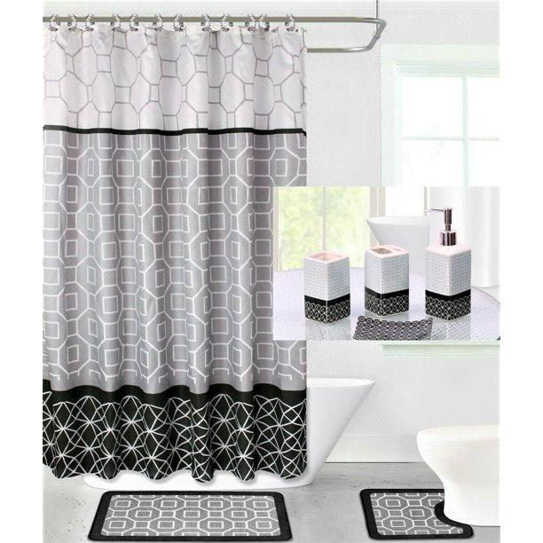 19pc Diamond Gray Black Bathroom Set