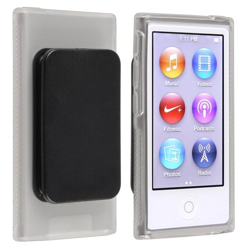 Insten TPU Rubber Skin Case with Belt Clip For Apple iPod nano 7 7th Generation, Clear