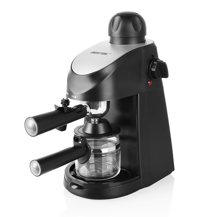 BESTEK 3.5 Bar Steam Coffee Maker Cappuccino Coffee and Espresso Maker Machine Latte Home Coffee Machine with Stainless Steel Milk Frother,Carafe Included [ETL Listed]