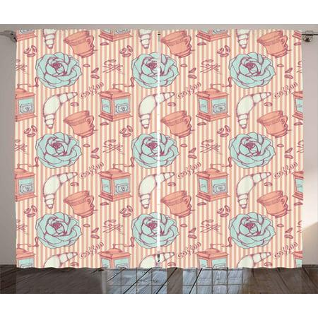 Kitchen Decor Curtains 2 Panels Set, Shabby Chic Hand Drawn Roses ...