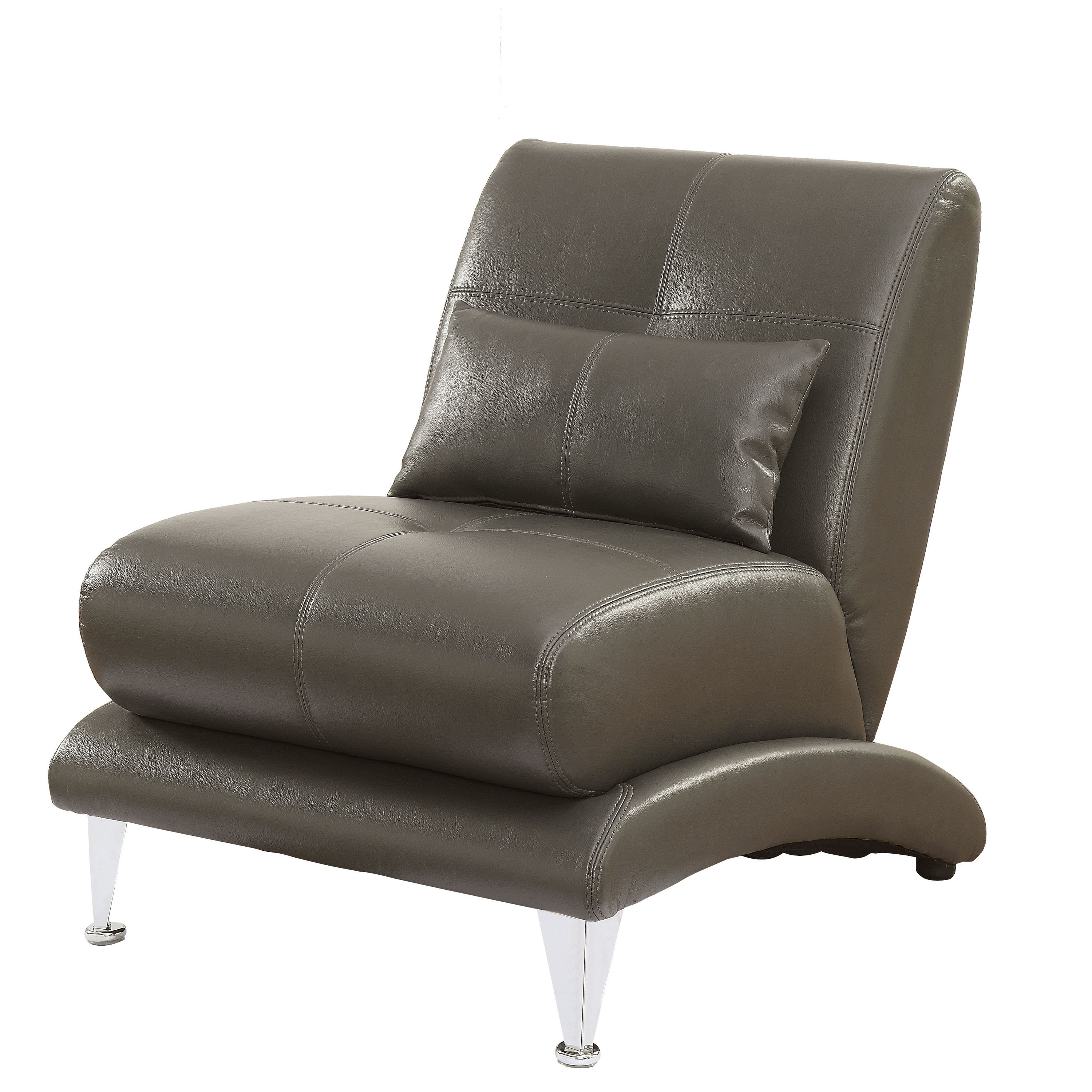 Furniture of America  Max Modern Tufted Leatherette Accent Chair Grey