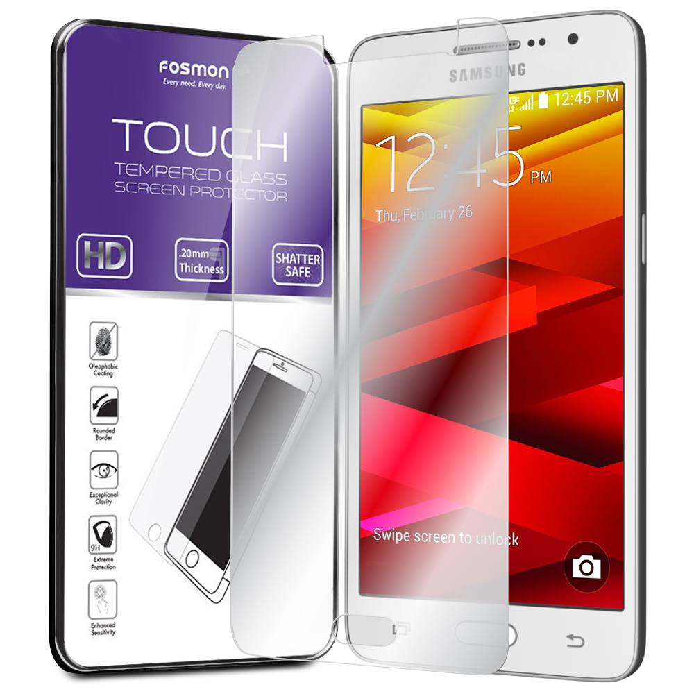 Fosmon Samsung Galaxy Core Prime Tempered Glass [Shatter Proof | Oleophobic Coating] HD Clear Screen Protector 1 Pack