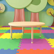 """Flash Furniture 45"""" Round Natural Plastic Height Adjustable Activity Table"""