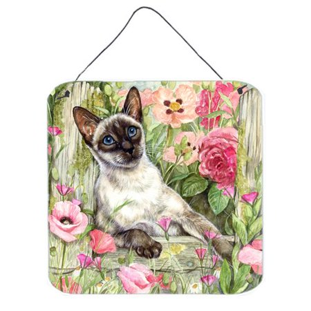 Caroline's Treasures Siamese cat in the Roses by Debbie Cook Painting Print Plaque Cat Wall Plaque