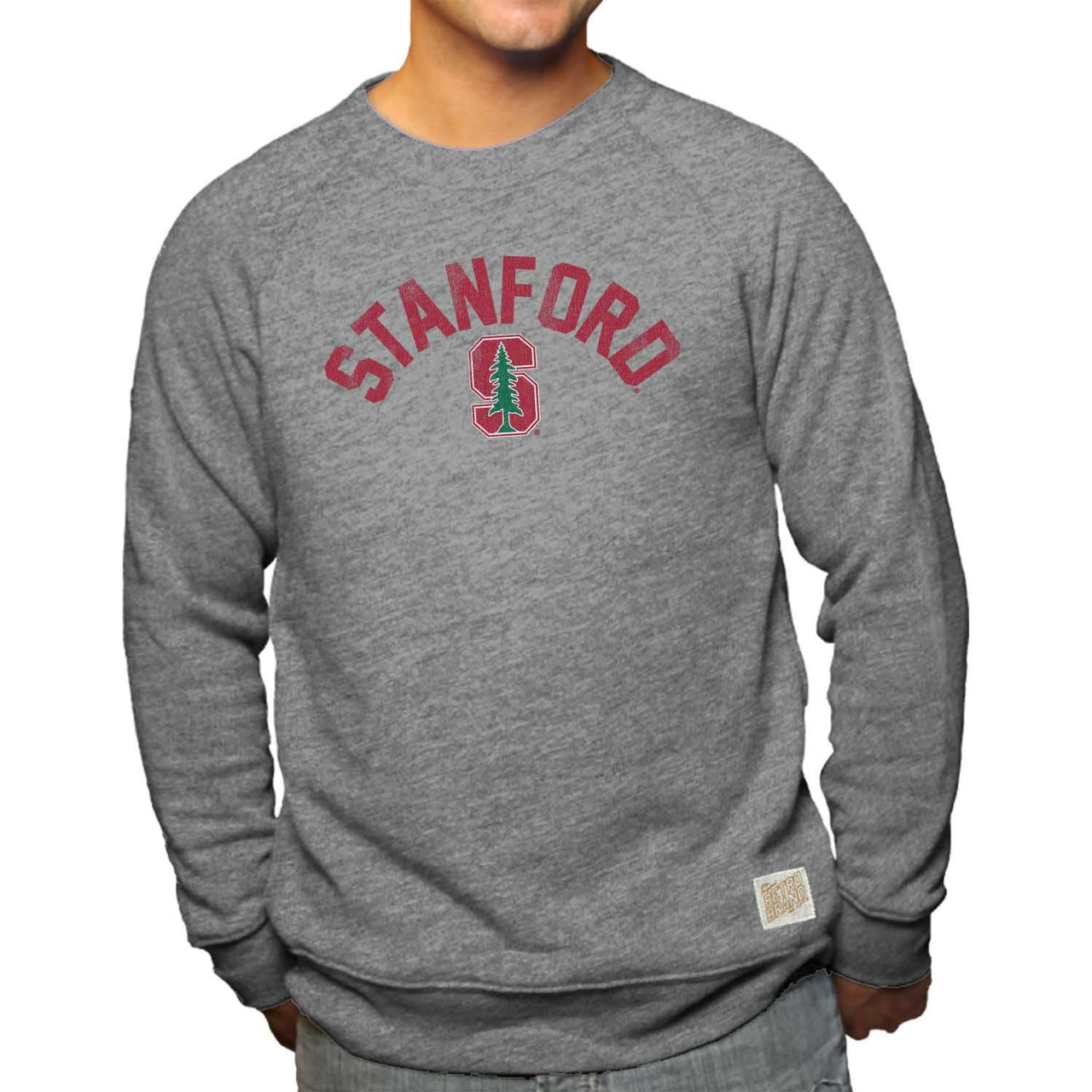 Stanford Cardinal Adult NCAA Arch And Logo Distressed Crewneck Sweatshirt - Gray