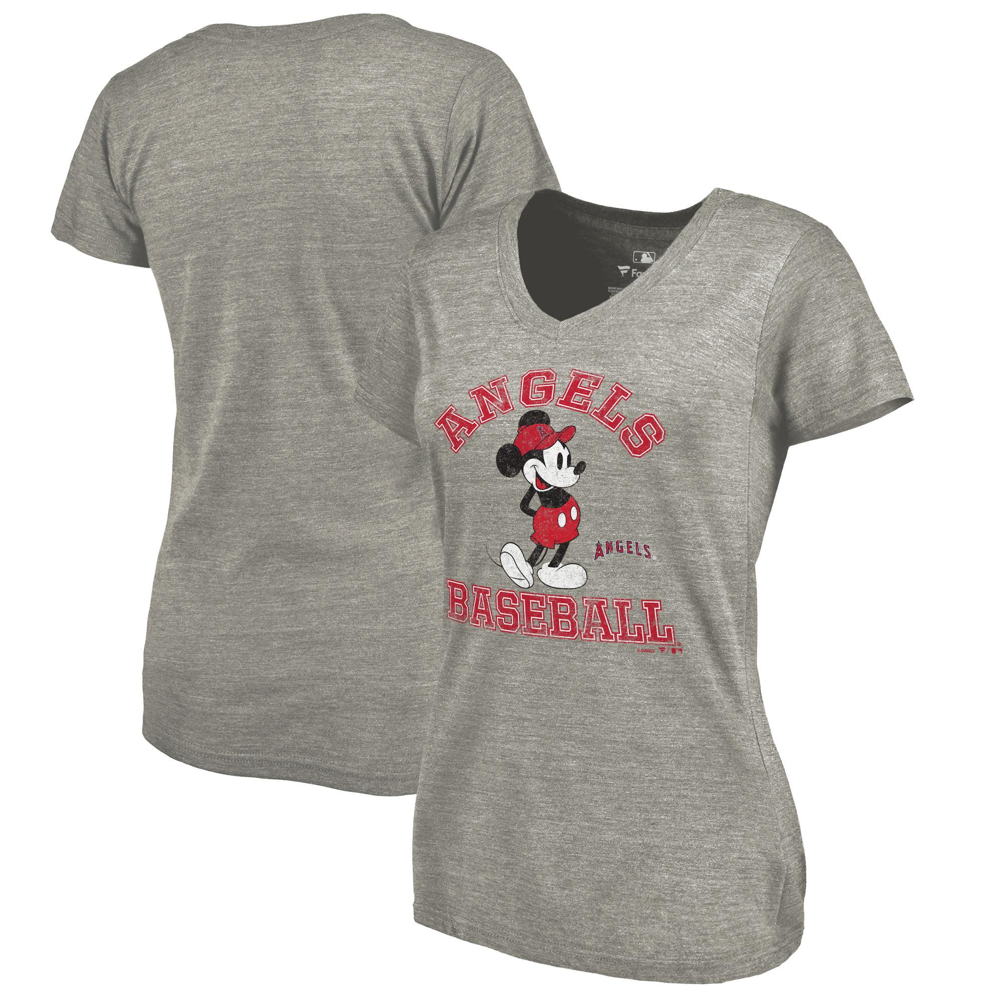 Los Angeles Angels Fanatics Branded Women's Disney MLB Tradition Tri-Blend V-Neck T-Shirt - Heathered Gray