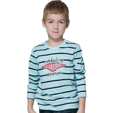 Leo&Lily Boys' Long Sleeve Crew-Neck Pullover Print Fancy T-Shirt Aqua Blue
