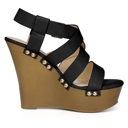 Women's Open Toe Platform Strappy Wedge Sandals Black US 11 - image 3 of 7