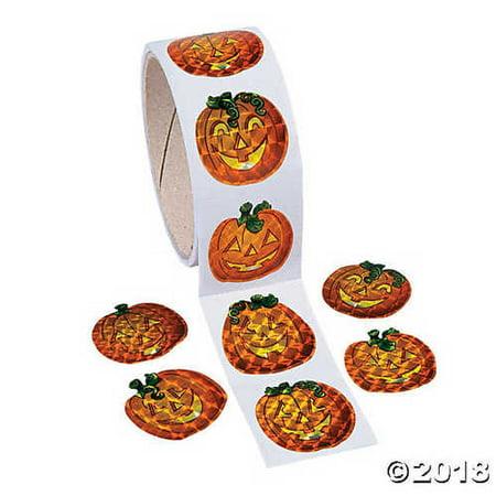 100 Prism Pumpkin Stickers Roll - Jack-O'-Lantern Halloween Party Supplies