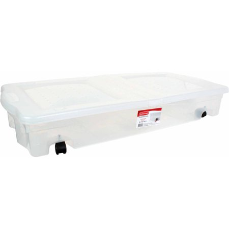 Rubbermaid Underbed Wheeled Storage Box 17 Gal Clear