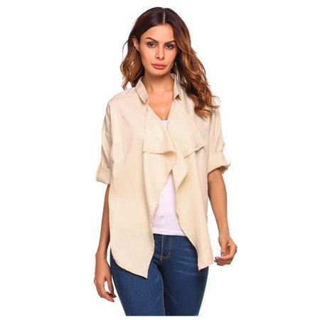 Sleeve Open Front Cardigan - 3/4 Sleeve Women Cardigan Open Front Draped Solid Irregular Hem Cardigan Coat