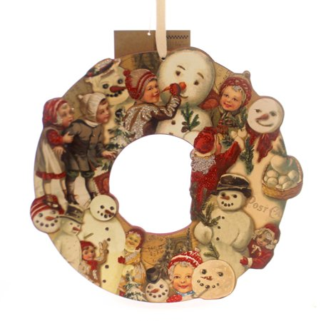 Christmas VINTAGE WREATH SNOWMAN Wood Primitive Christmas 29564 ()