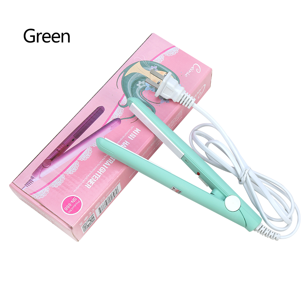 Hilitand 2 in 1 Mini Hair Straightener Ceramic Tourmaline Plate Beauty Flat Iron Heating Curler, Ceramic Tourmaline Plate(Purple, Matcha Green, Sky Blue, Pink)