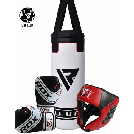 RDX Boxing Headgear Junior Punching Bag Youth Gloves Kids Training Kit Bundle ()