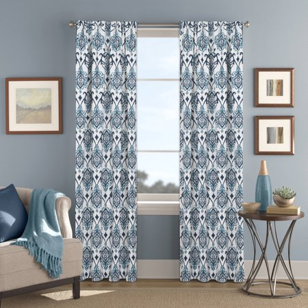 Better homes and gardens indigo and aqua damask printed - Better homes and gardens curtain rods ...