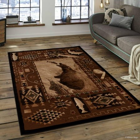Brown Moose With Fish Print Outdoor Wilderness Area Rug 7