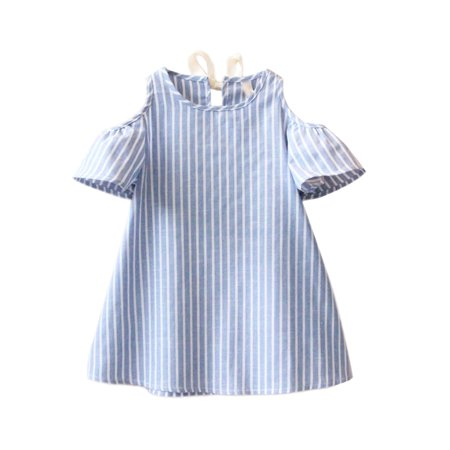 StylesILove Kid Girls Stripe Tunic Off Shoulder Short Sleeves Cotton Dress (100/3T)