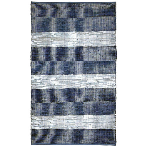 St. Croix Matador Chindi Hand-Woven Cotton Leather Blue Area Rug