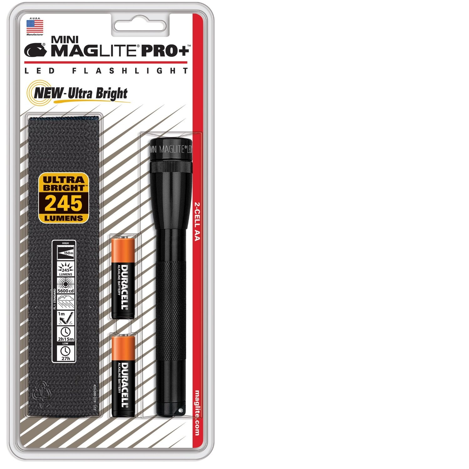 Maglite Mini Pro+ LED 2-Cell AA Flashlight w/Holster, Black