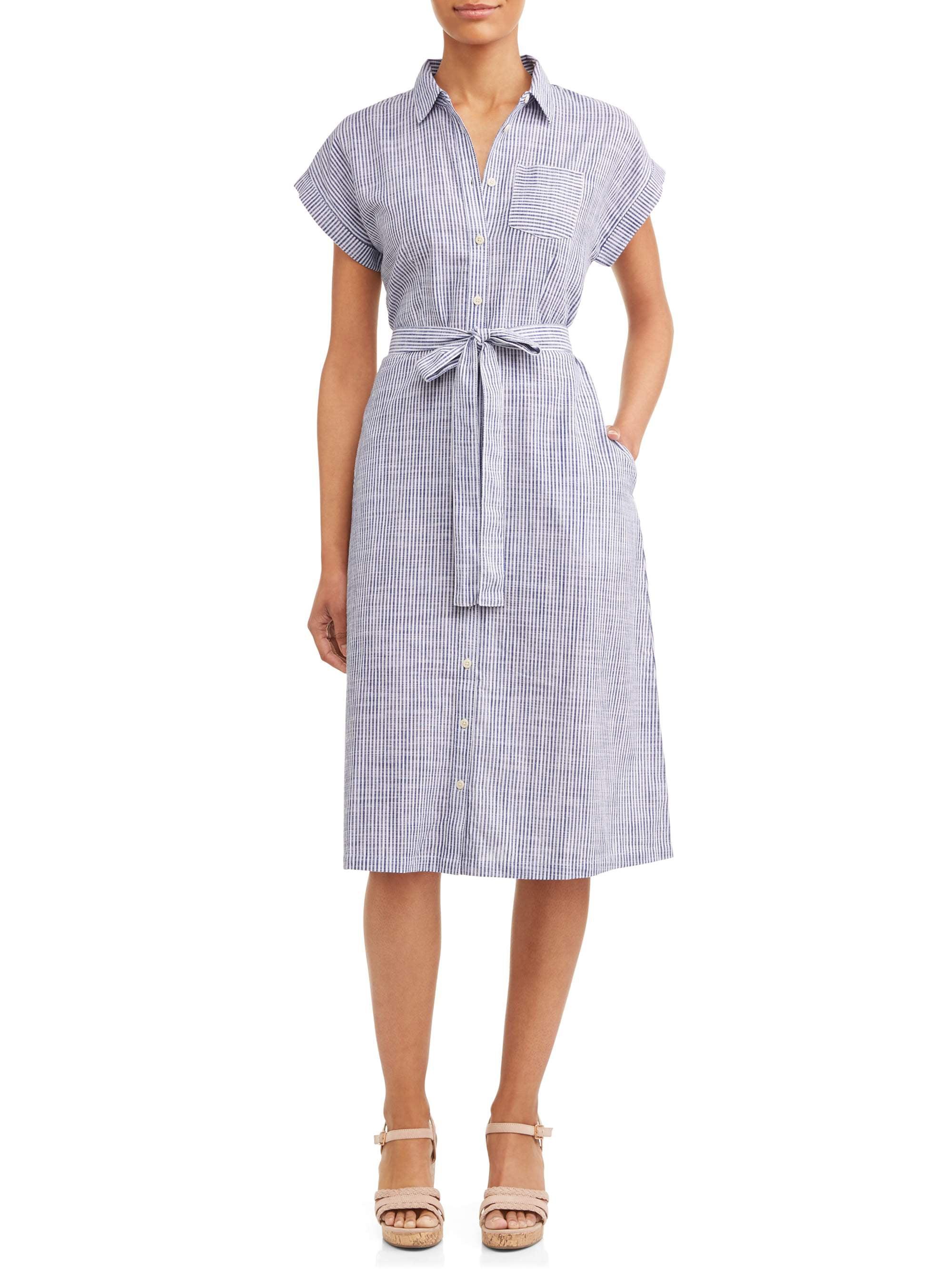 7c6aff1b4a5b3 Women's Belted Midi Shirt Dress with Pocket - Walmart.com