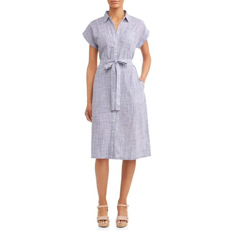 c352a96c040 Time and Tru - Women s Belted Midi Shirt Dress with Pocket - Walmart.com