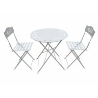 White Metal Bistro Set of 1 Table and 2 Chairs