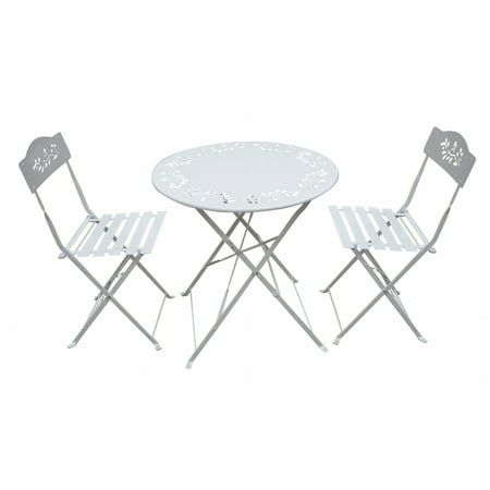 white metal bistro set of 1 table and 2 chairs. Black Bedroom Furniture Sets. Home Design Ideas