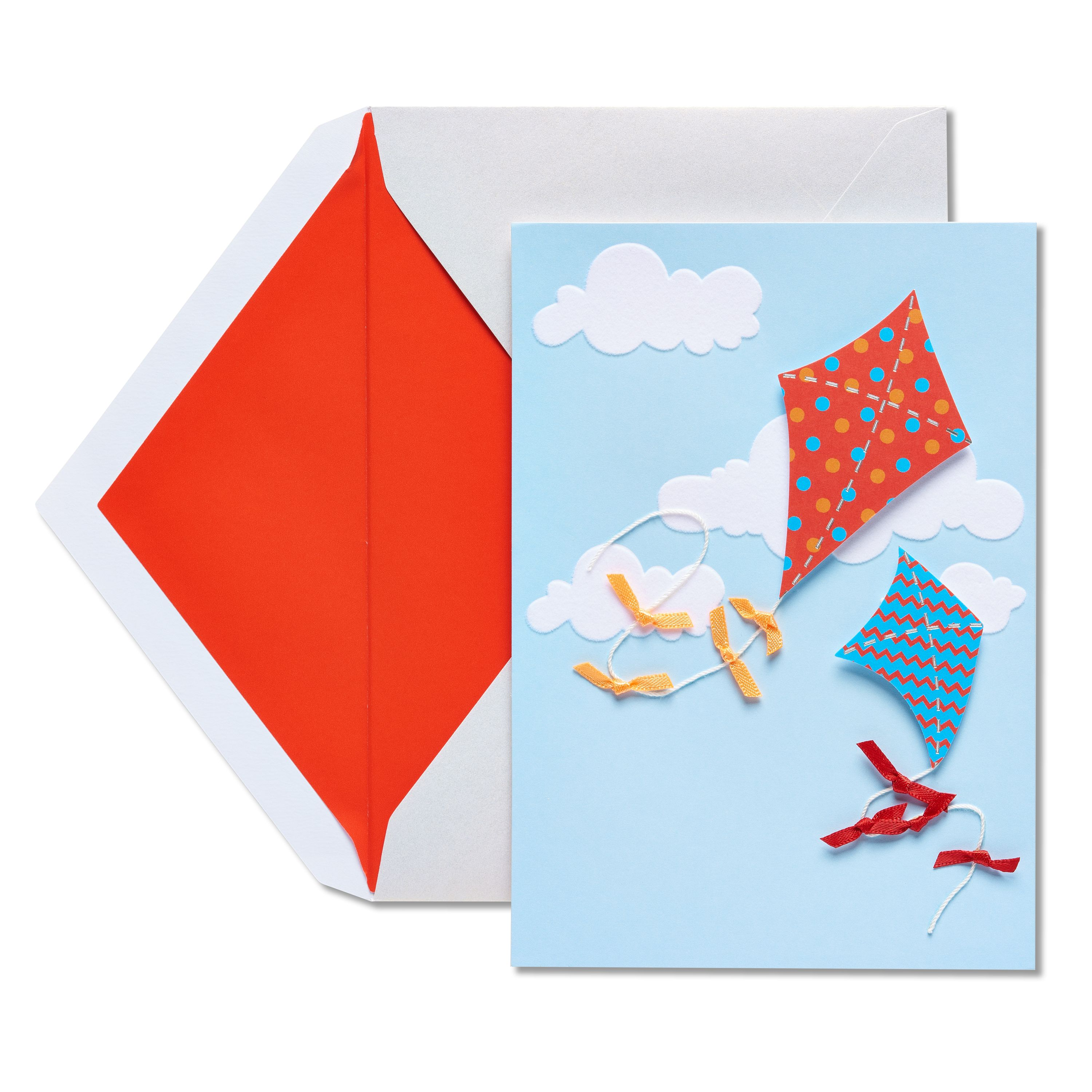 American Greetings Flying Kites Blank Card with Foil